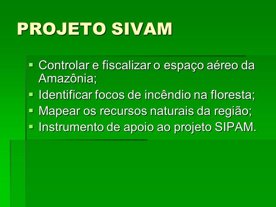 PROJETO SIVAM Controlar e fiscalizar o espaço aéreo da Amazônia;