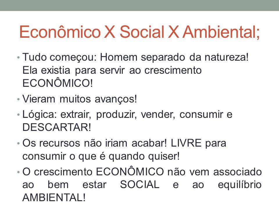 Econômico X Social X Ambiental;