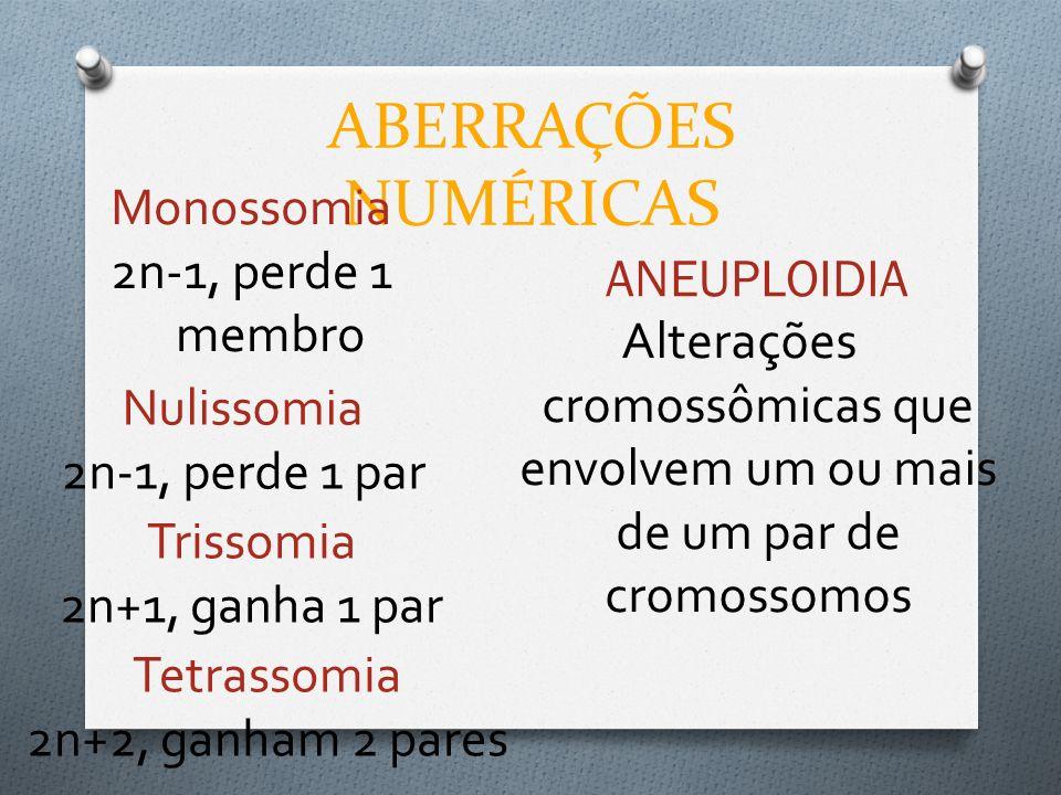 ABERRAÇÕES NUMÉRICAS Monossomia 2n-1, perde 1 membro ANEUPLOIDIA