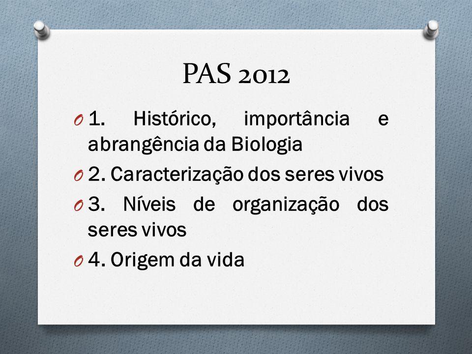 PAS 2012 1. Histórico, importância e abrangência da Biologia
