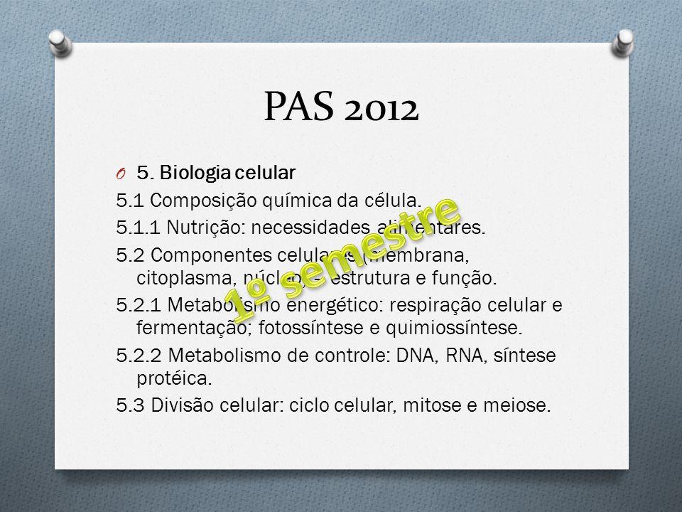 1º semestre PAS 2012 5. Biologia celular