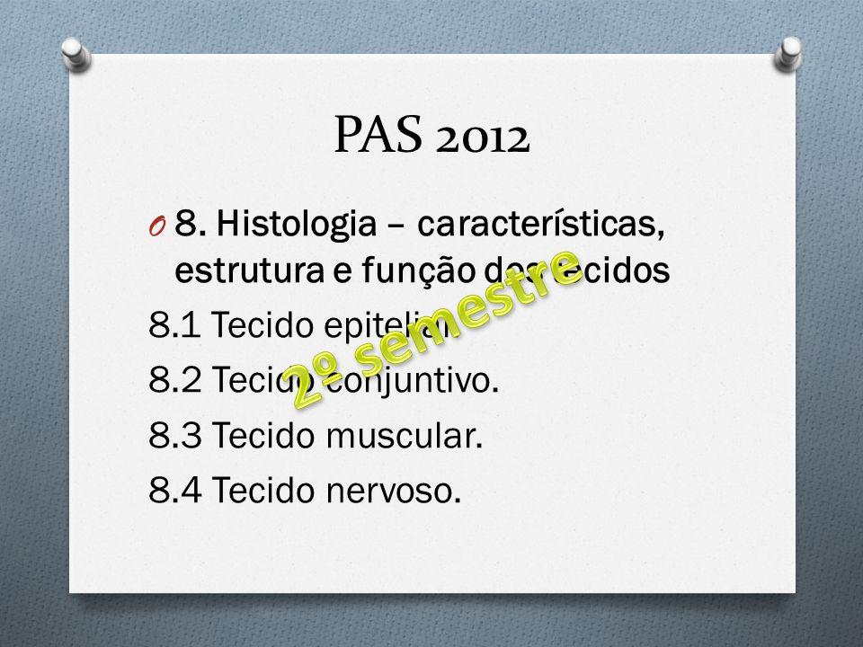 PAS 2012 8. Histologia – características, estrutura e função dos tecidos. 8.1 Tecido epitelial. 8.2 Tecido conjuntivo.