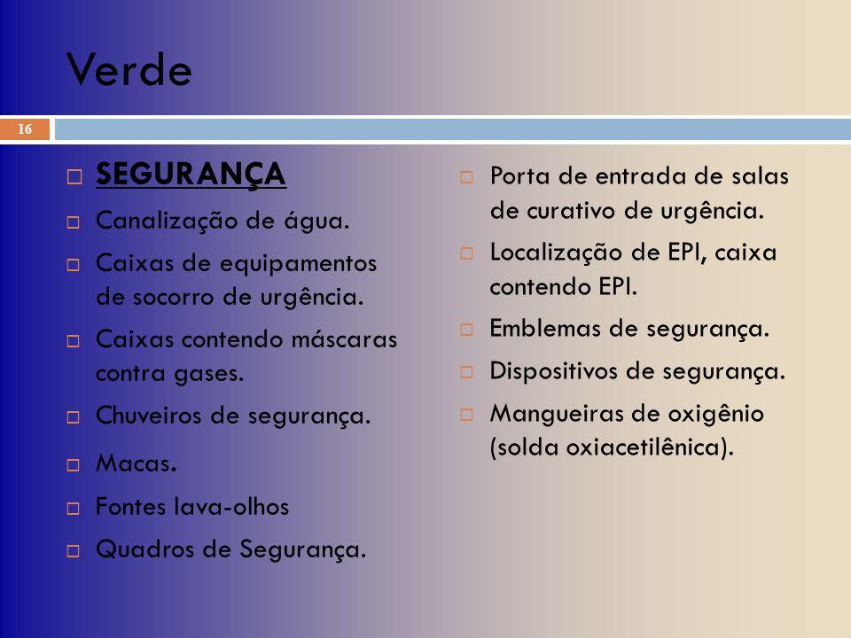 Verde SEGURANÇA Porta de entrada de salas de curativo de urgência.