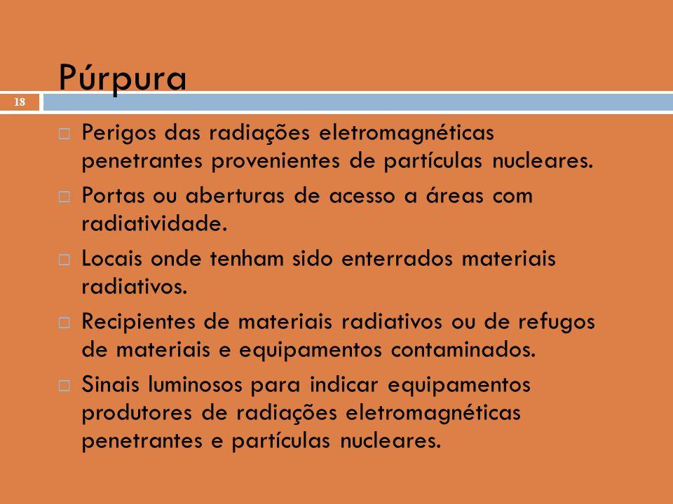 Púrpura Perigos das radiações eletromagnéticas penetrantes provenientes de partículas nucleares.
