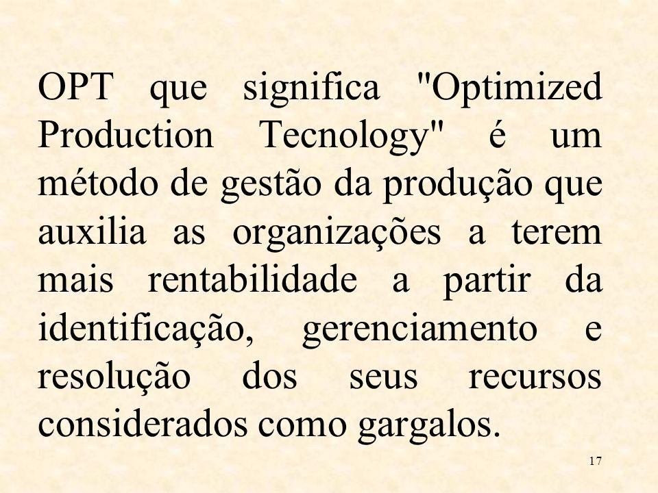 OPT que significa Optimized Production Tecnology é um método de gestão da produção que auxilia as organizações a terem mais rentabilidade a partir da identificação, gerenciamento e resolução dos seus recursos considerados como gargalos.