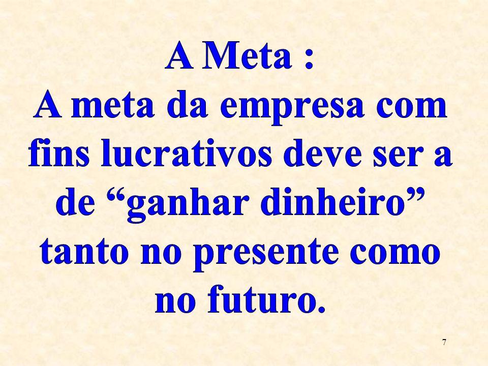 A Meta : A meta da empresa com fins lucrativos deve ser a de ganhar dinheiro tanto no presente como no futuro.