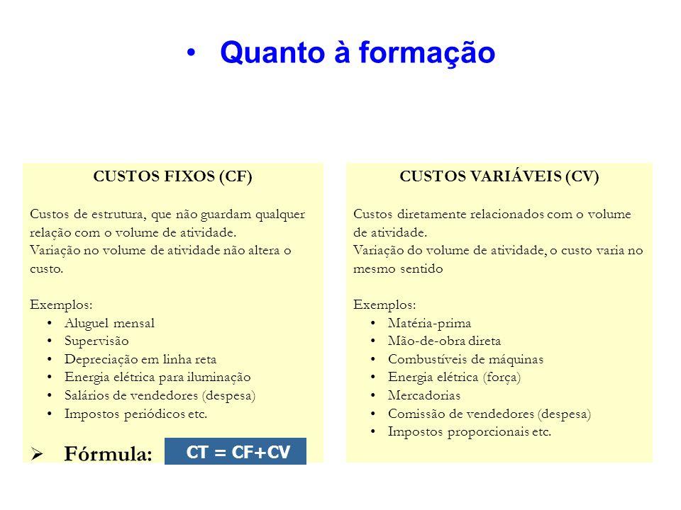Quanto à formação Fórmula: CUSTOS FIXOS (CF) CUSTOS VARIÁVEIS (CV)
