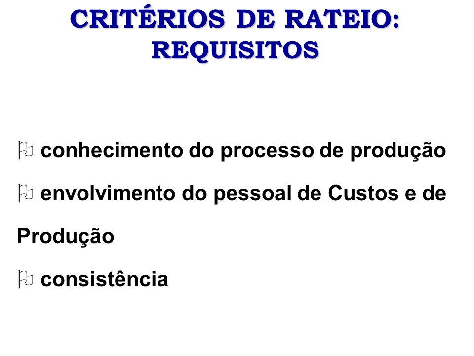 CRITÉRIOS DE RATEIO: REQUISITOS