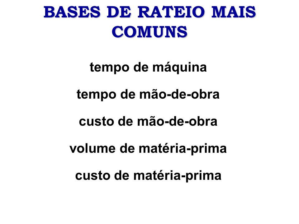 BASES DE RATEIO MAIS COMUNS