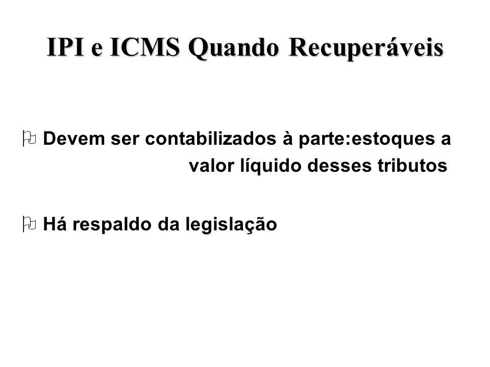 IPI e ICMS Quando Recuperáveis