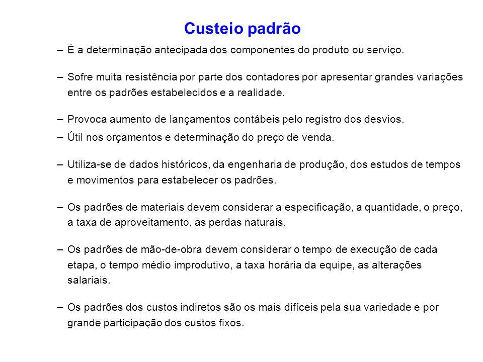 Custeio padrão É a determinação antecipada dos componentes do produto ou serviço.