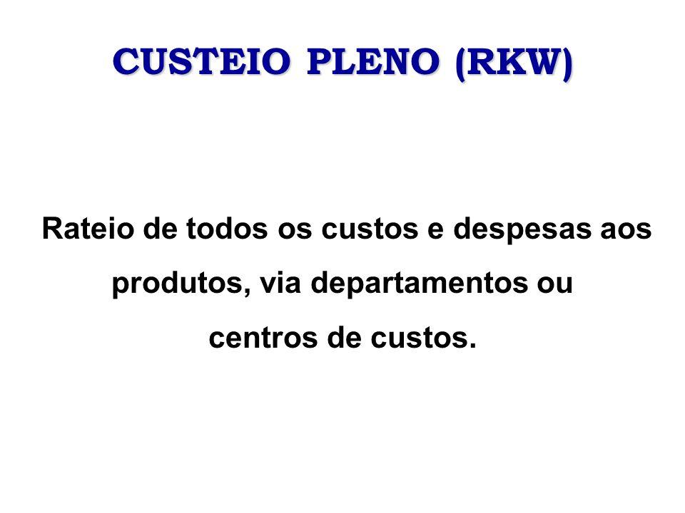 CUSTEIO PLENO (RKW) Rateio de todos os custos e despesas aos produtos, via departamentos ou.