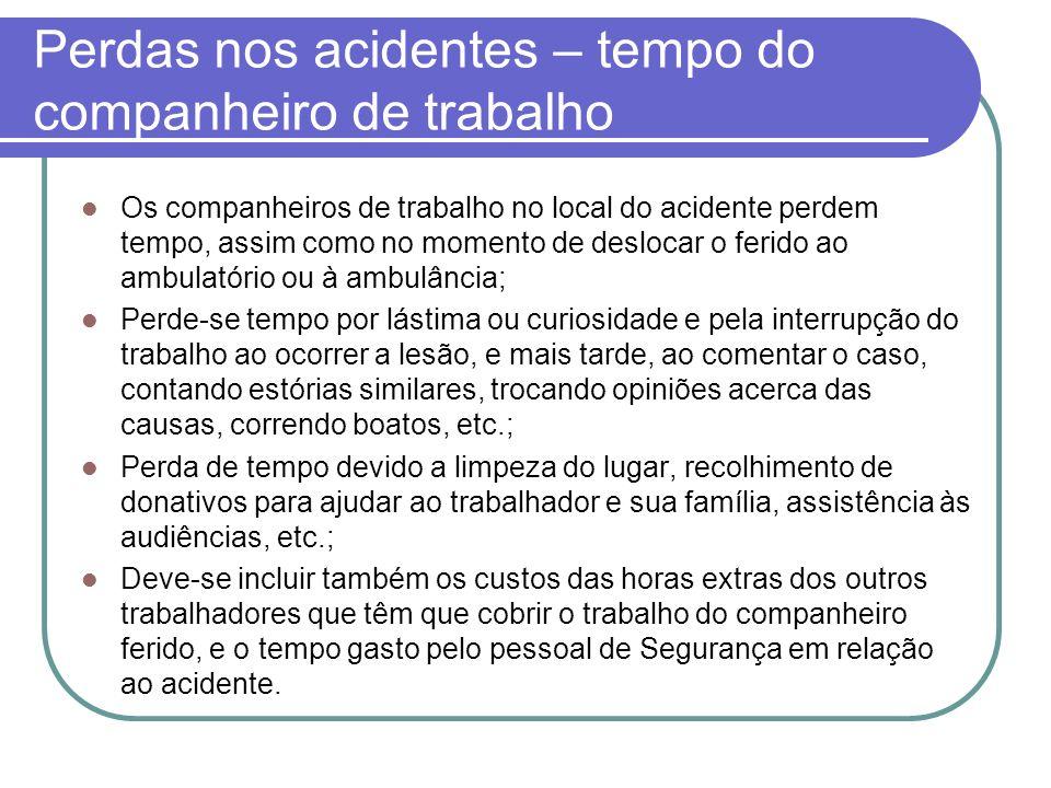 Perdas nos acidentes – tempo do companheiro de trabalho
