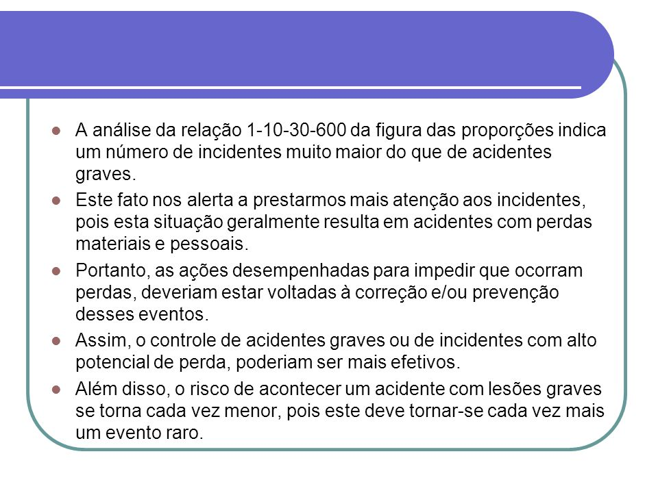 A análise da relação 1-10-30-600 da figura das proporções indica um número de incidentes muito maior do que de acidentes graves.