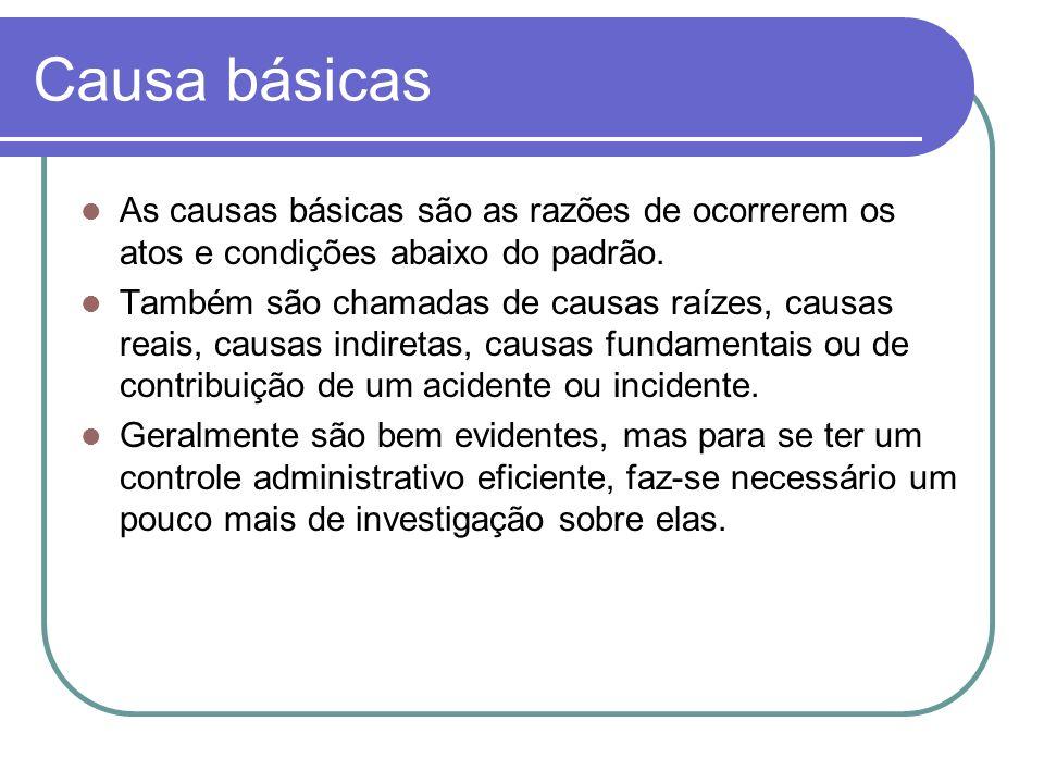 Causa básicas As causas básicas são as razões de ocorrerem os atos e condições abaixo do padrão.