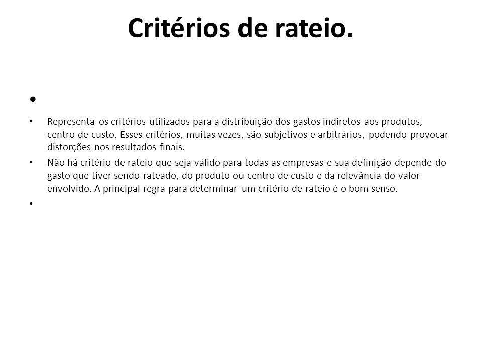 Critérios de rateio.