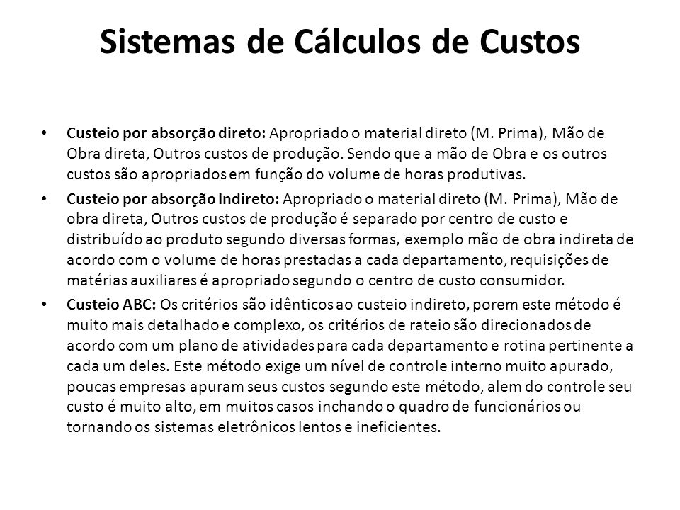 Sistemas de Cálculos de Custos