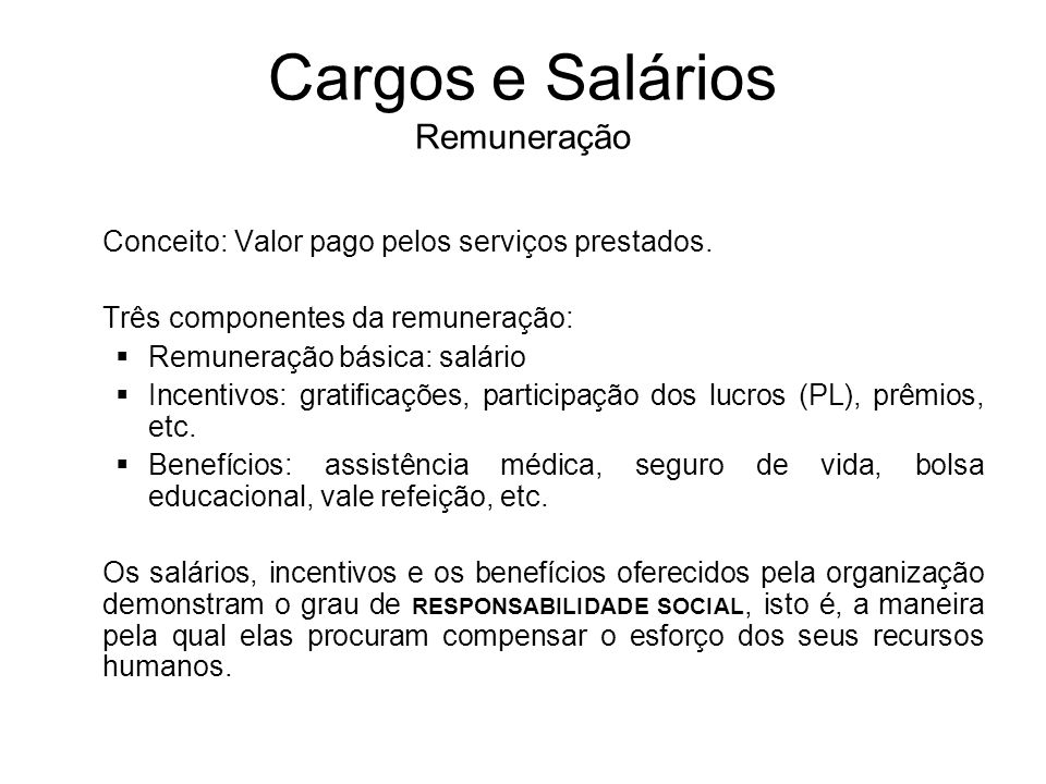 Cargos e Salários Remuneração