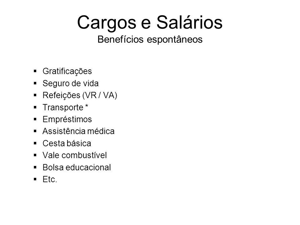 Cargos e Salários Benefícios espontâneos