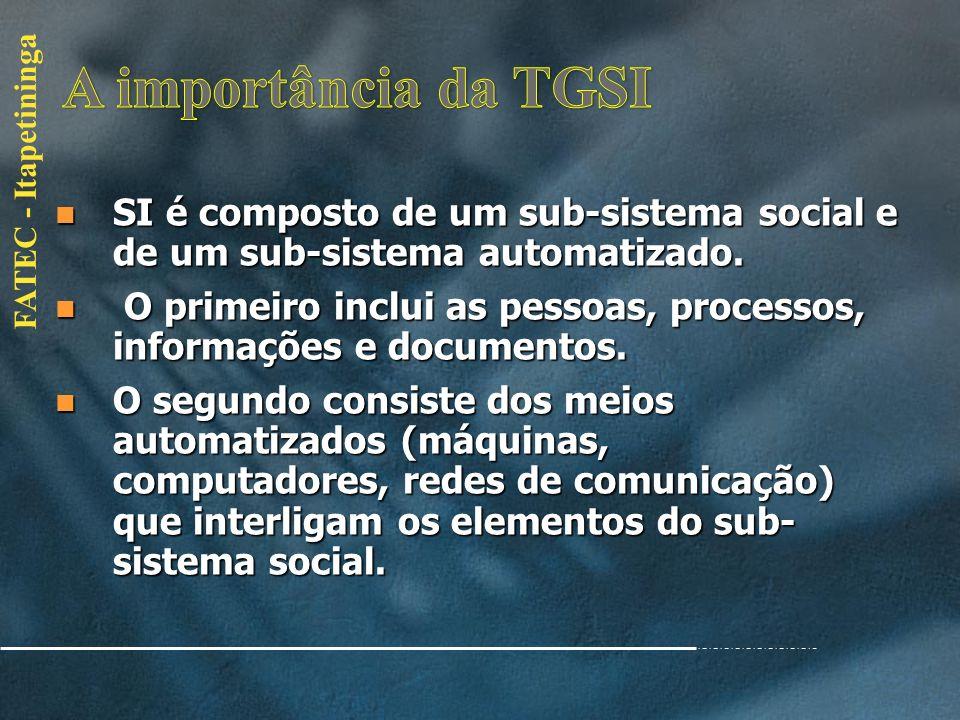 A importância da TGSI SI é composto de um sub-sistema social e de um sub-sistema automatizado.