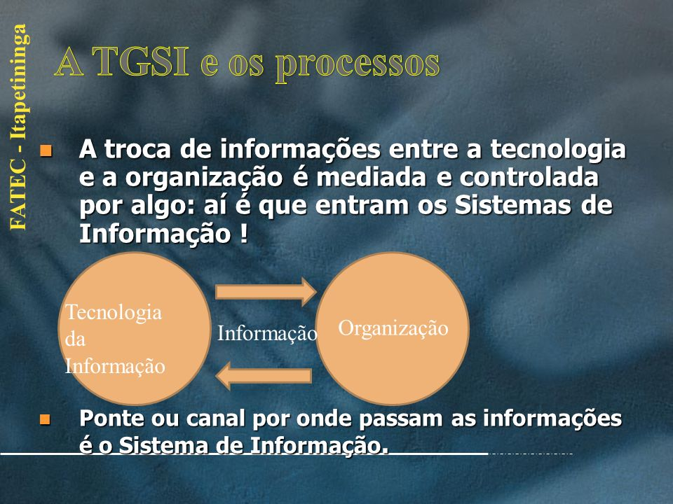 A TGSI e os processos
