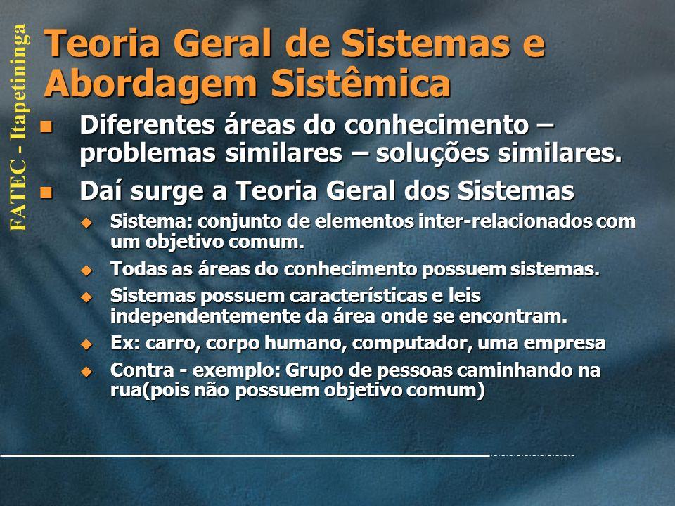 Teoria Geral de Sistemas e Abordagem Sistêmica