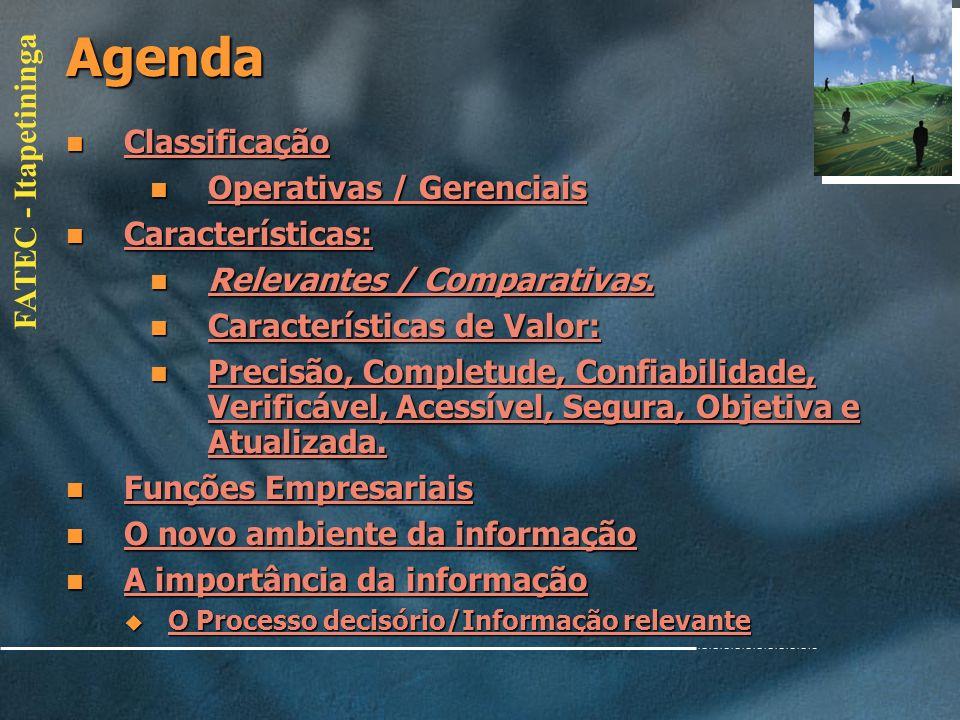 Agenda Classificação Operativas / Gerenciais Características: