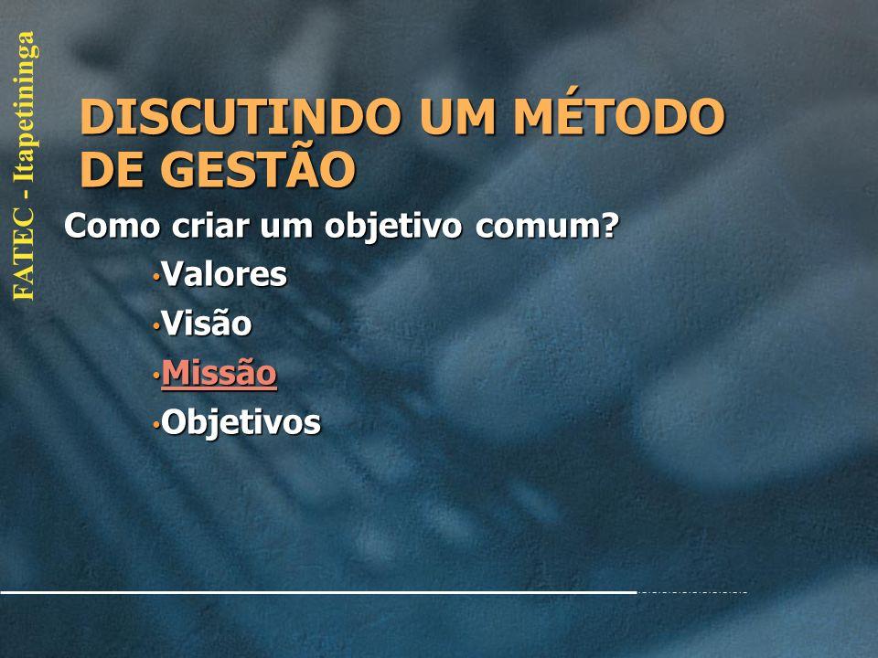 DISCUTINDO UM MÉTODO DE GESTÃO