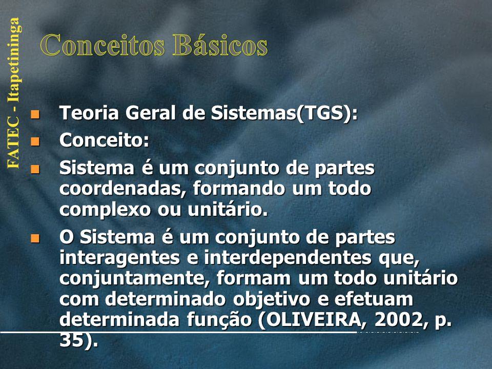Conceitos Básicos Teoria Geral de Sistemas(TGS): Conceito: