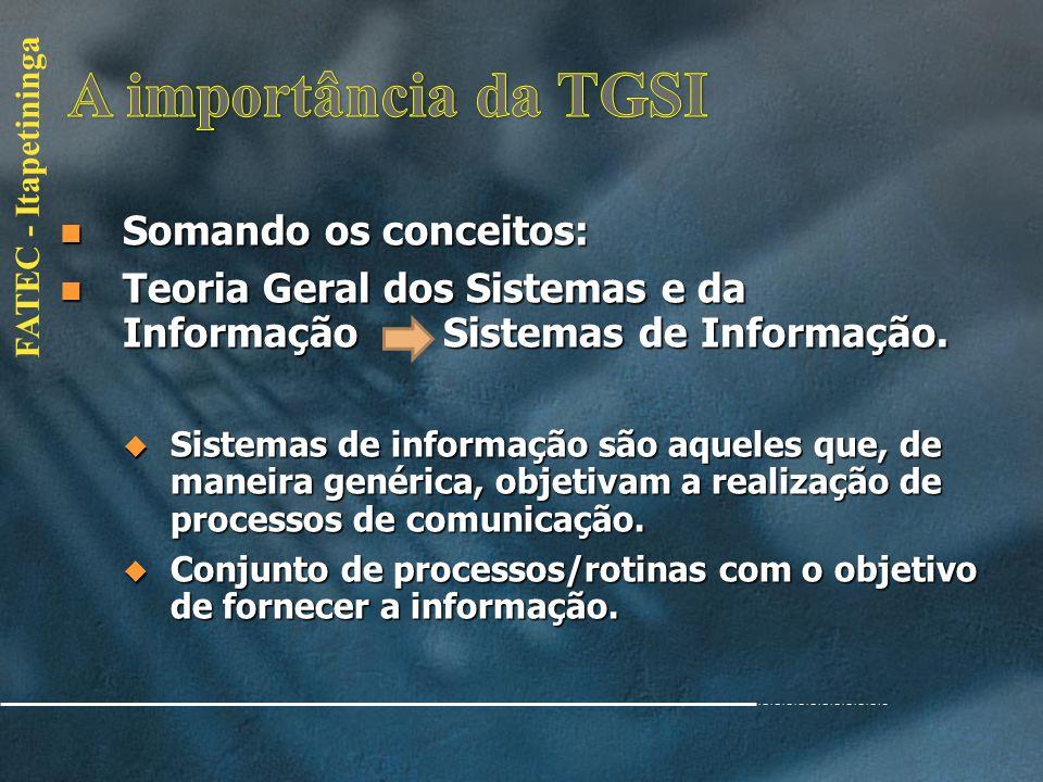 A importância da TGSI Somando os conceitos:
