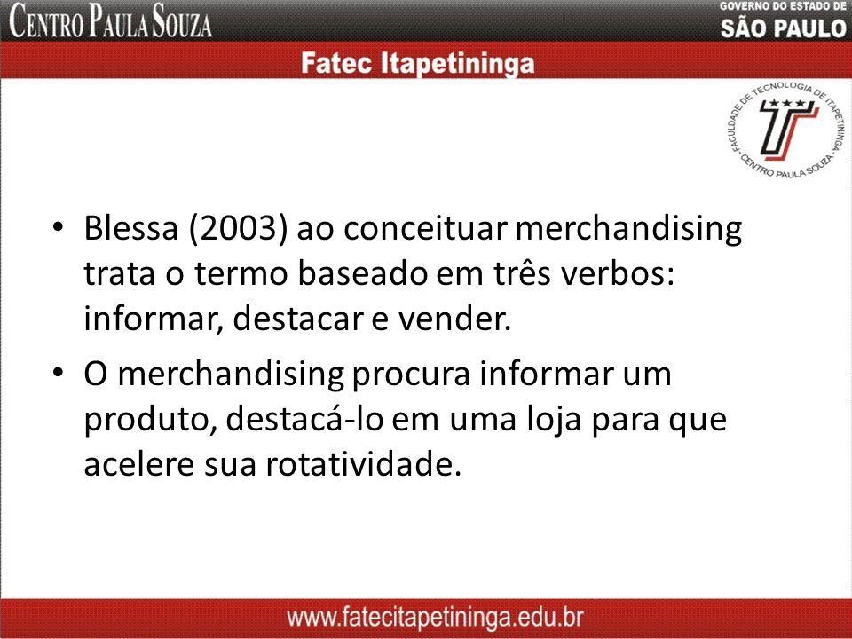 Blessa (2003) ao conceituar merchandising trata o termo baseado em três verbos: informar, destacar e vender.