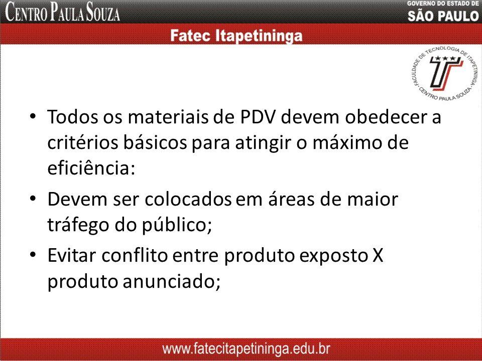 Todos os materiais de PDV devem obedecer a critérios básicos para atingir o máximo de eficiência: