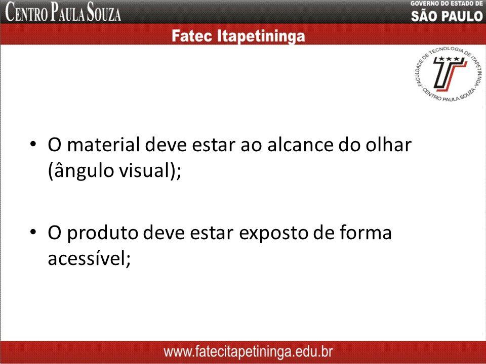 O material deve estar ao alcance do olhar (ângulo visual);