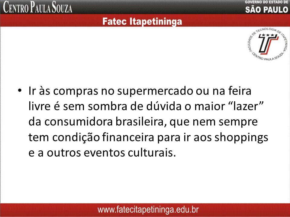 Ir às compras no supermercado ou na feira livre é sem sombra de dúvida o maior lazer da consumidora brasileira, que nem sempre tem condição financeira para ir aos shoppings e a outros eventos culturais.