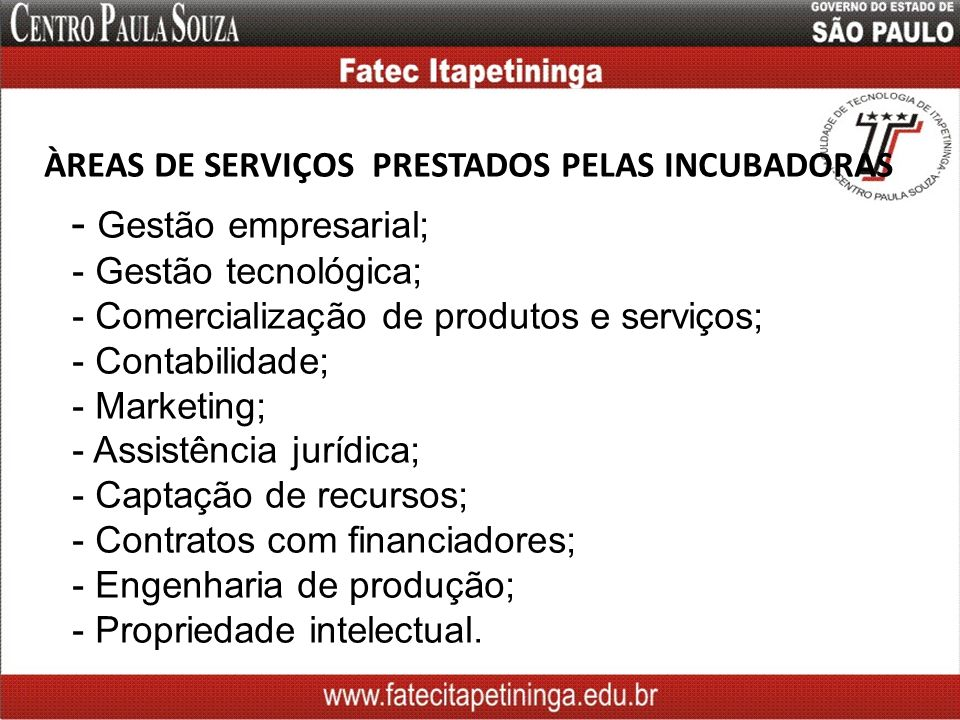 ÀREAS DE SERVIÇOS PRESTADOS PELAS INCUBADORAS