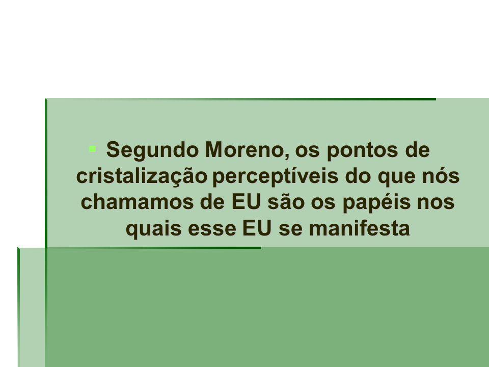 Segundo Moreno, os pontos de cristalização perceptíveis do que nós chamamos de EU são os papéis nos quais esse EU se manifesta
