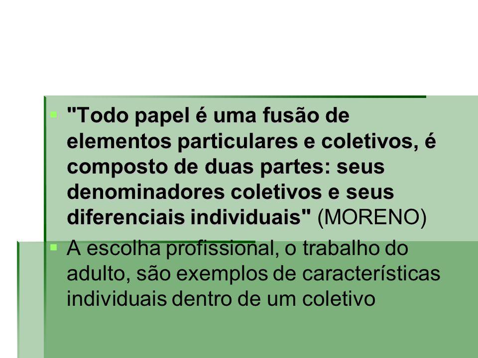 Todo papel é uma fusão de elementos particulares e coletivos, é composto de duas partes: seus denominadores coletivos e seus diferenciais individuais (MORENO)