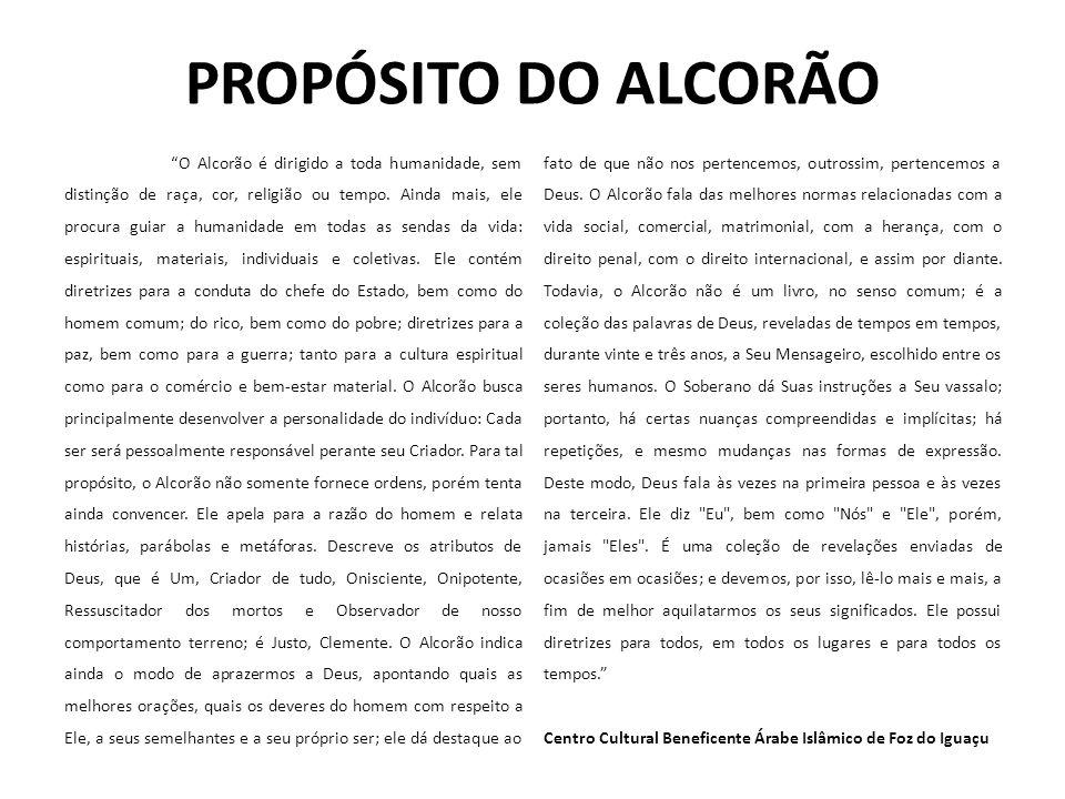 PROPÓSITO DO ALCORÃO