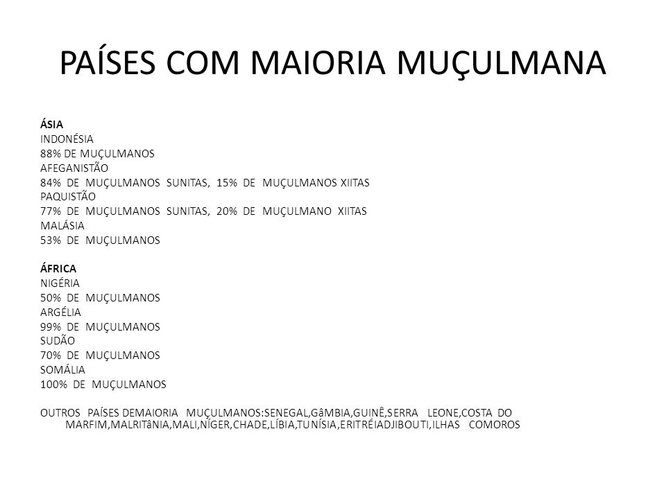 PAÍSES COM MAIORIA MUÇULMANA