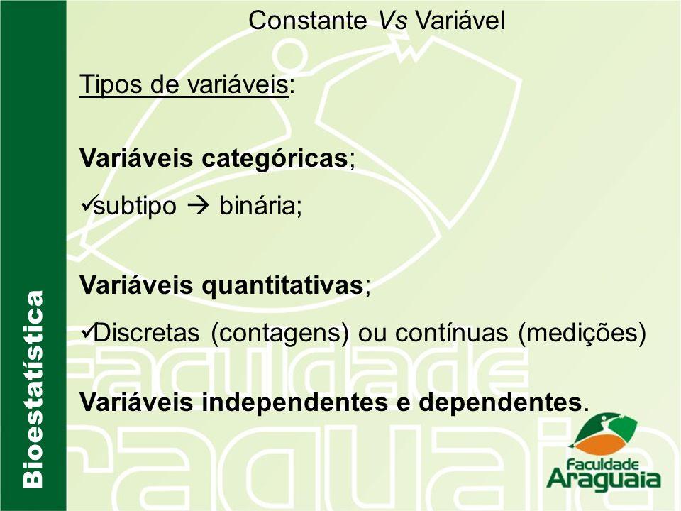 Constante Vs Variável Tipos de variáveis: Variáveis categóricas; subtipo  binária; Variáveis quantitativas;