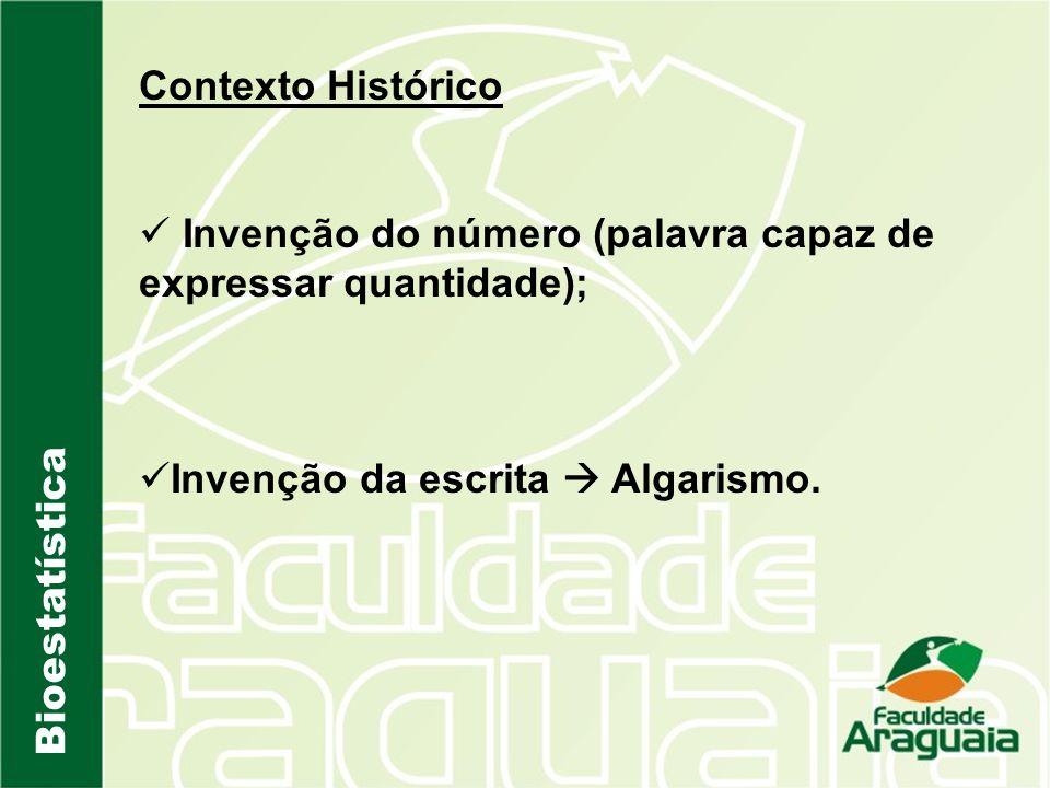 Contexto Histórico Invenção do número (palavra capaz de expressar quantidade); Invenção da escrita  Algarismo.
