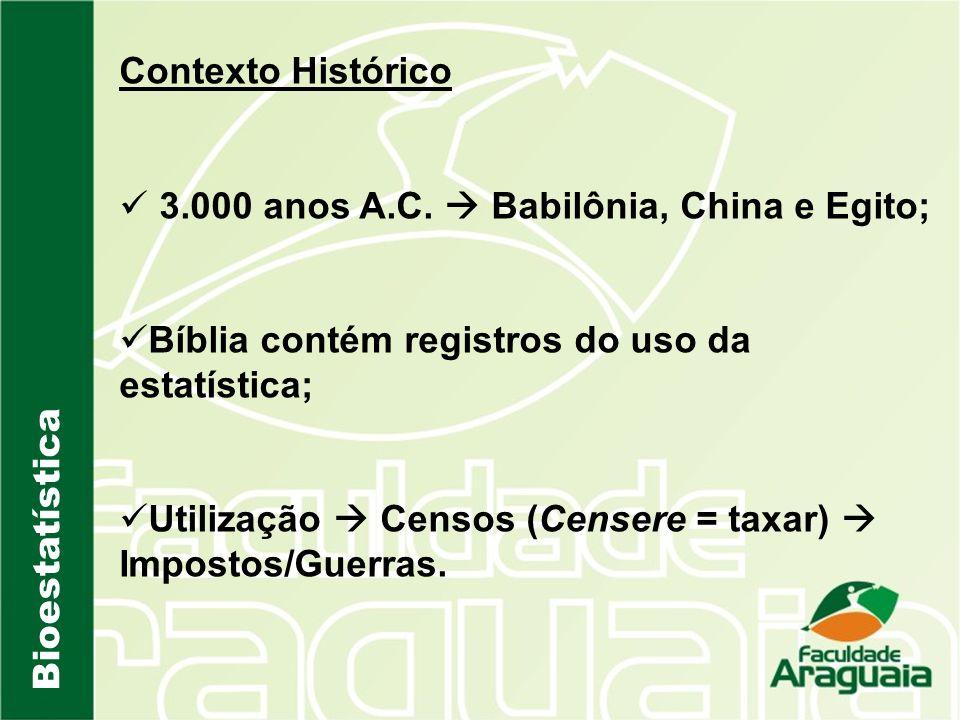 Contexto Histórico 3.000 anos A.C.  Babilônia, China e Egito; Bíblia contém registros do uso da estatística;