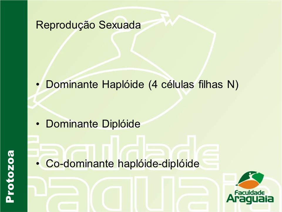 Reprodução Sexuada Dominante Haplóide (4 células filhas N) Dominante Diplóide. Co-dominante haplóide-diplóide.