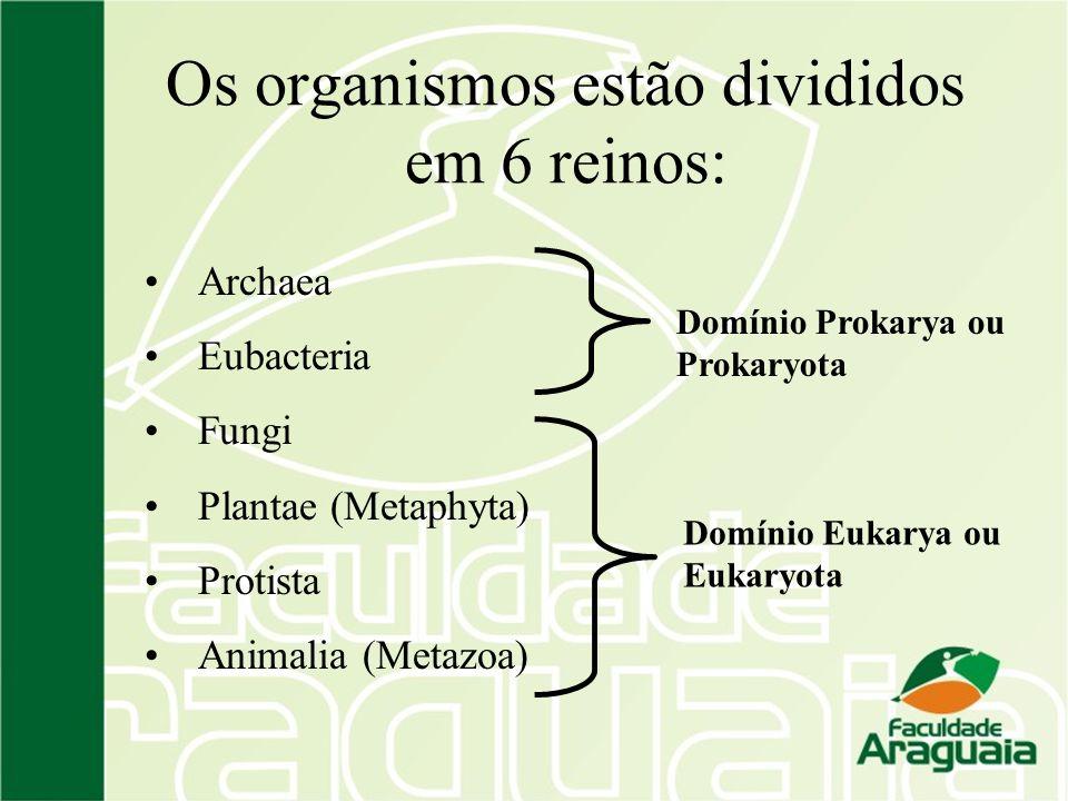 Os organismos estão divididos em 6 reinos: