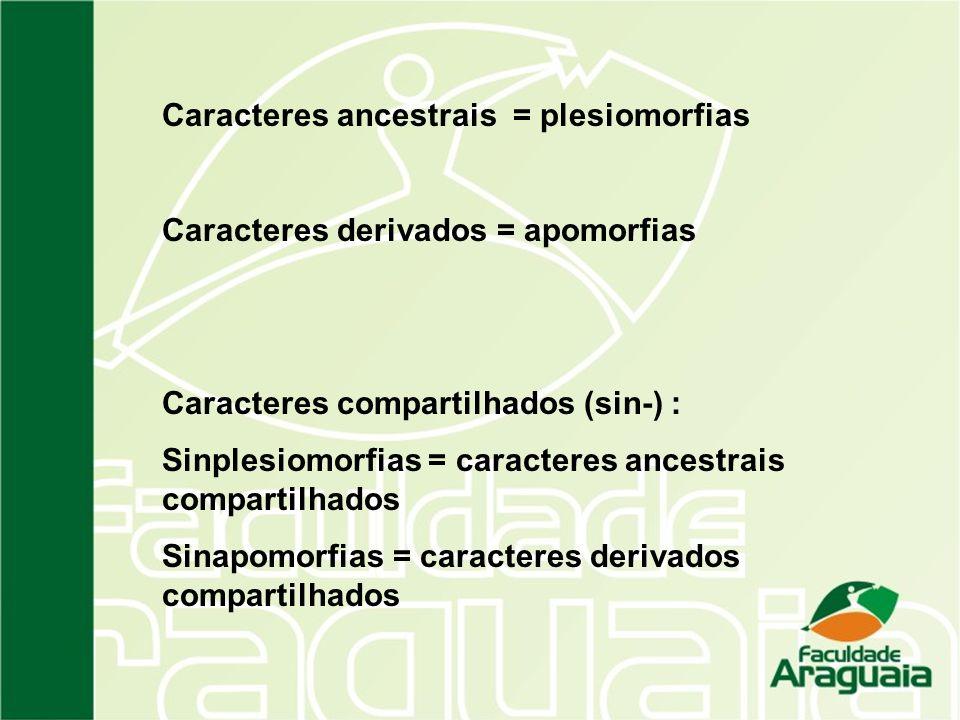 Caracteres ancestrais = plesiomorfias