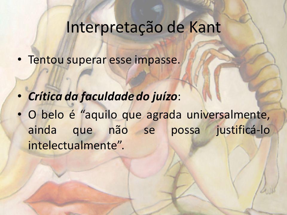 Interpretação de Kant Tentou superar esse impasse.