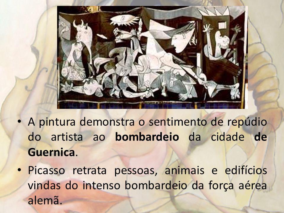 A pintura demonstra o sentimento de repúdio do artista ao bombardeio da cidade de Guernica.