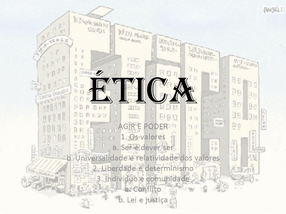 Ética AGIR E PODER 1. Os valores a. Ser e dever ser