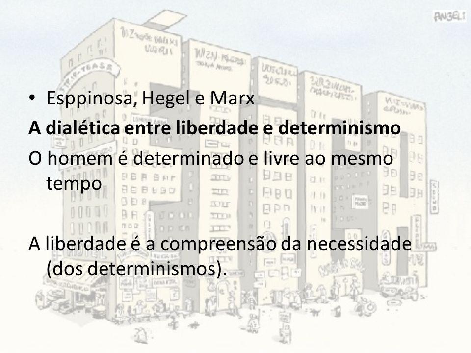 Esppinosa, Hegel e Marx A dialética entre liberdade e determinismo. O homem é determinado e livre ao mesmo tempo.