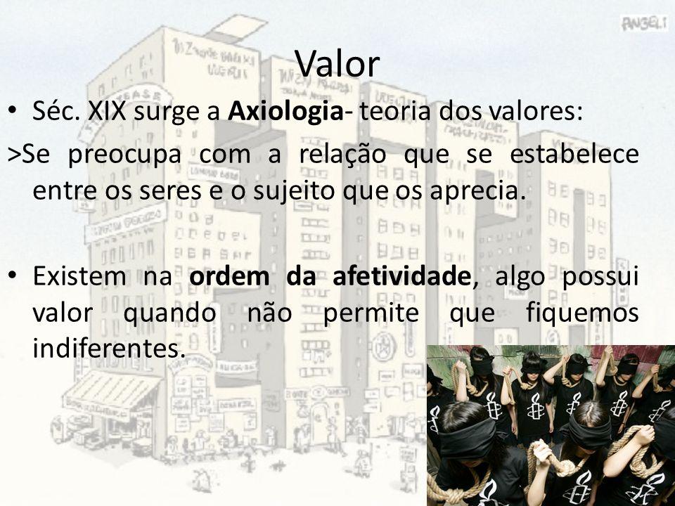 Valor Séc. XIX surge a Axiologia- teoria dos valores: